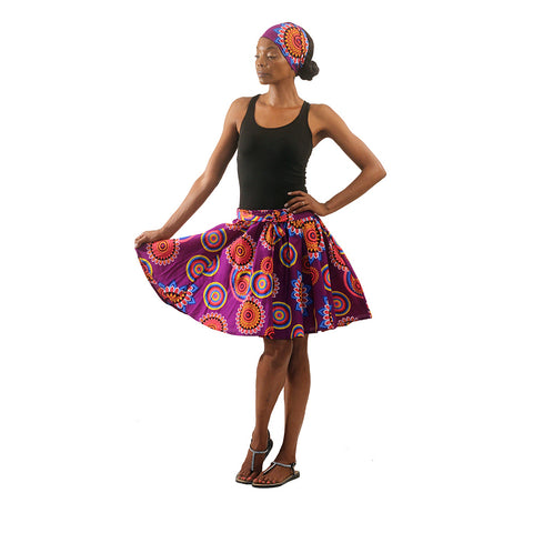 Sacred Flower Mini Skirt: Purple