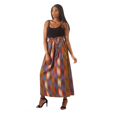 African Print Dot Pattern Long Skirt