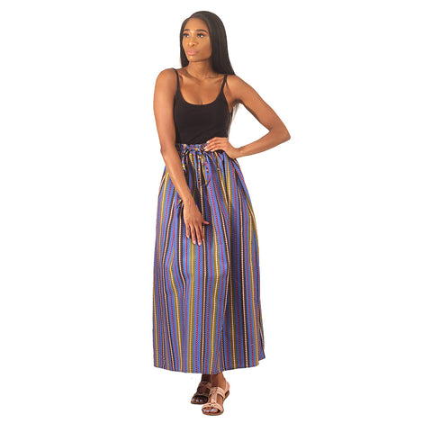 Blue Stripe Pattern Long Skirt