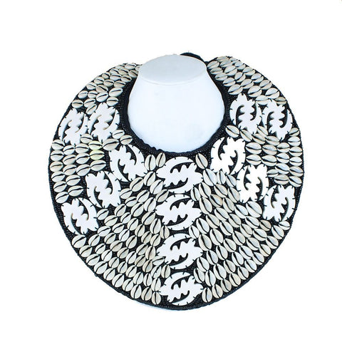 Gye Nyame Breastplate Necklace: White 2