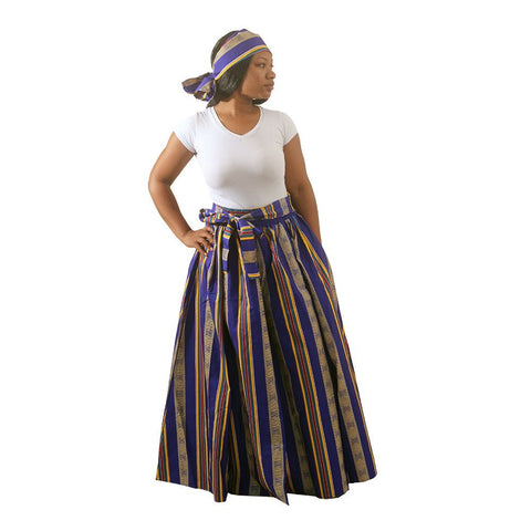 Kente Long Skirt #4 BLUE