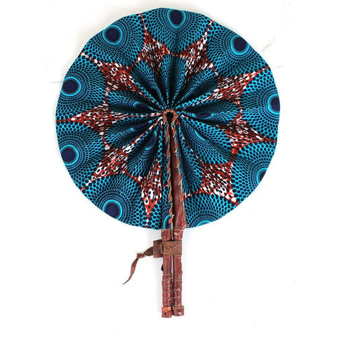 Turquoise Circle Print Folding Fan
