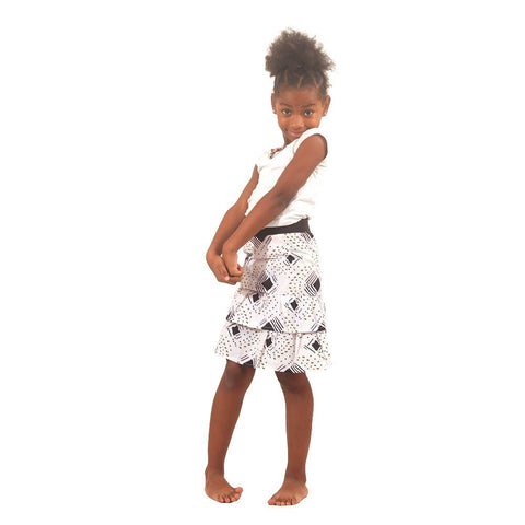 White Mud Print Children's Skirt