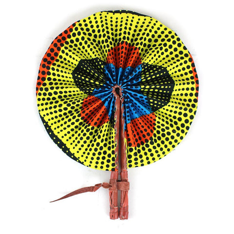 Dotted African Print Folding Fan