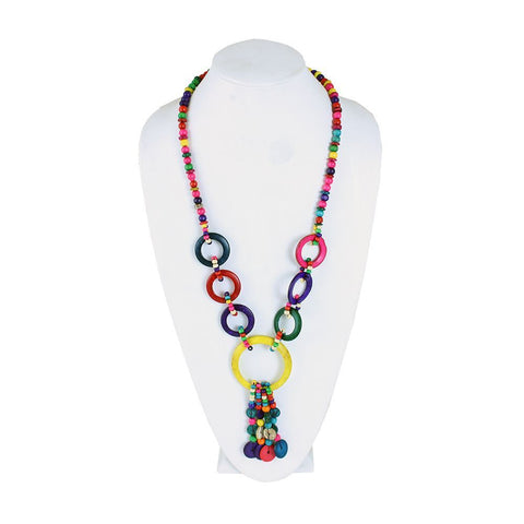 Set Of 12 Colorful Wood Bead Necklaces