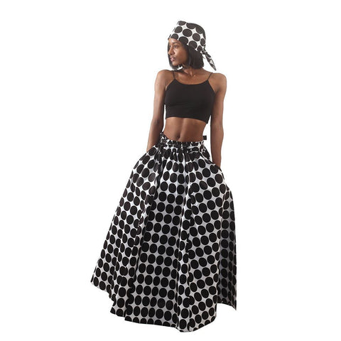 White & Black - Polka Dot Maxi Skirt