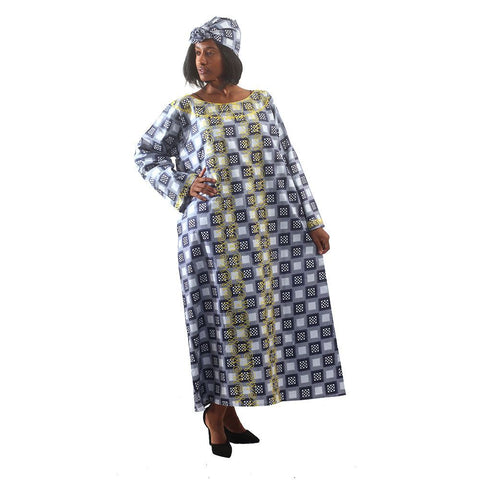 Embroidered Checkered Print Kaftan