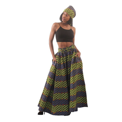 Multi-Color Dot Print Long Skirt