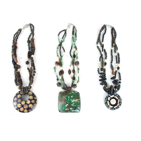 Set Of 3 Beaded Pendant Necklaces