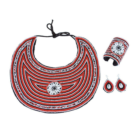 Red Beaded Cowrie Shell Jewelry Set