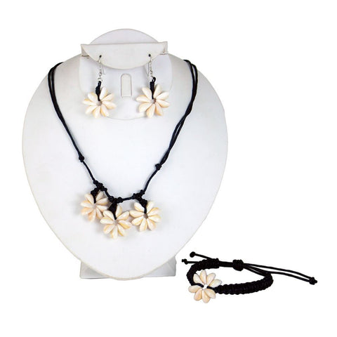 Floral Cowrie Shell Jewelry Set