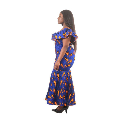 African-Made Blue Peacock Elastic Dress