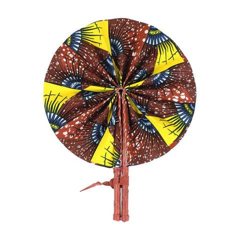 Brown African Print Folding Fan