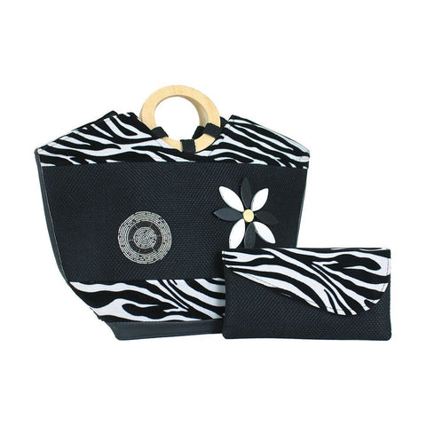 Zebra Handbag & Clutch Set