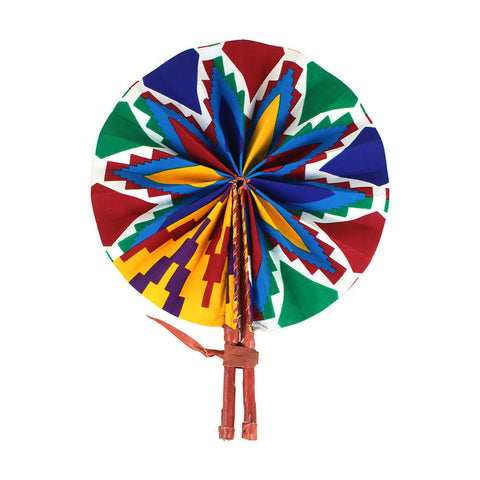 Bold Kente Leather Folding Fan