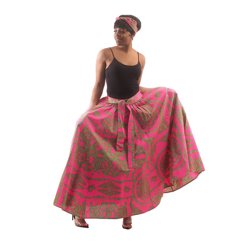 Royalty Print Maxi Skirt: Pink/Green