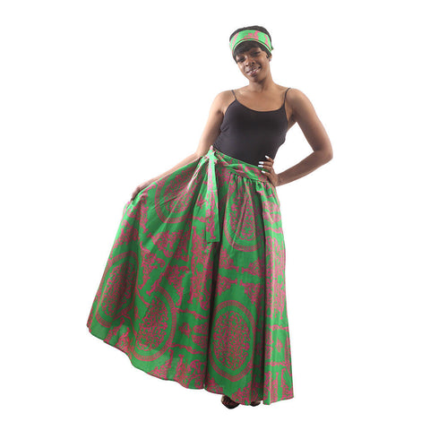 Royalty Print Maxi Skirt: Green/Pink
