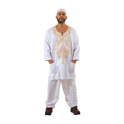 Men's Embroidered Lace Pant Set