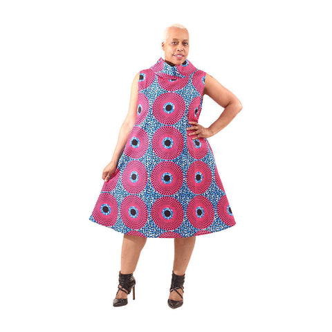 Pink/Blue Circle Print Collar Dress
