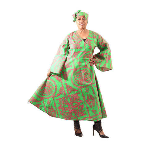 Royalty Print Wrap Dress: Pink/Green