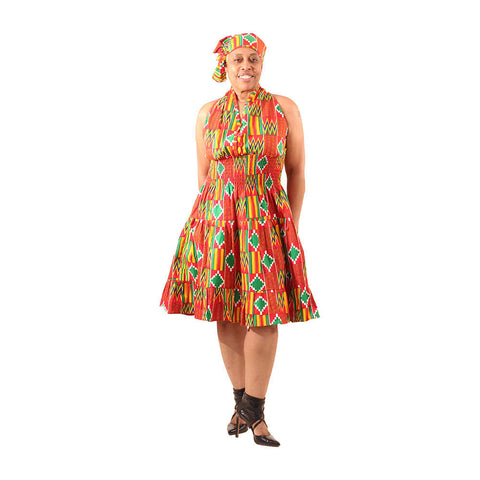 Red Kente Swing Dress