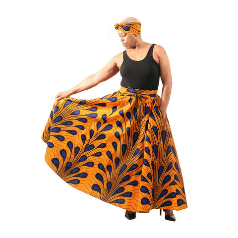 Orange Peacock Print Palla Skirt