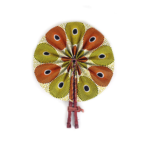 Circle Print Folding Fan: Orange/Yellow