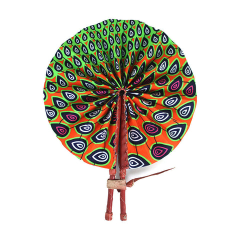Orange/Green Peacock Print Folding Fan
