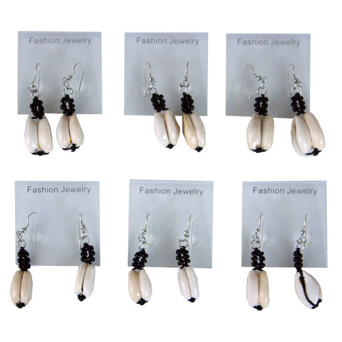 Set Of 6 Double Cowrie Shell Earrings