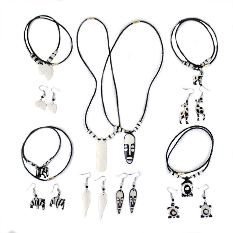 Set Of 6 Kenyan Bone Necklaces/Earrings