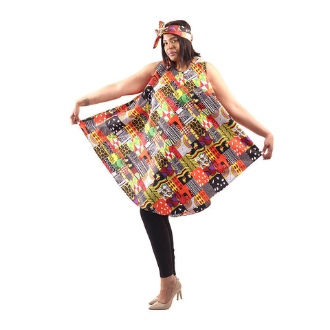 Patchwork Print Umbrella Spring Dress