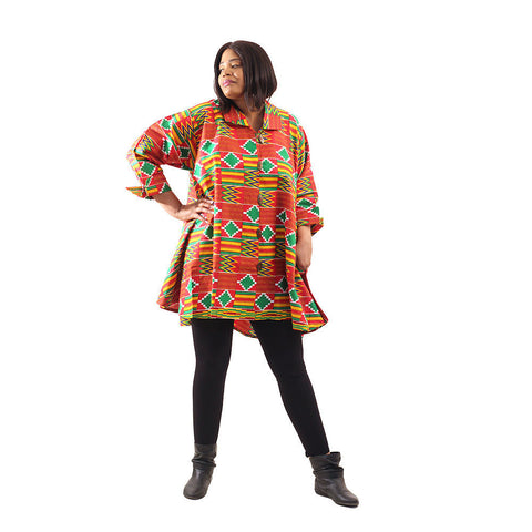 Red Kente Button Shirt