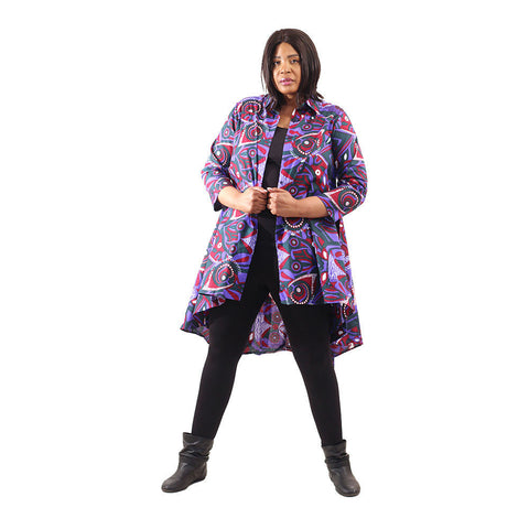 African Print Hi-Lo Shirt: Purple