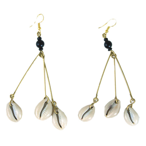 3-Shell Dangle Earrings