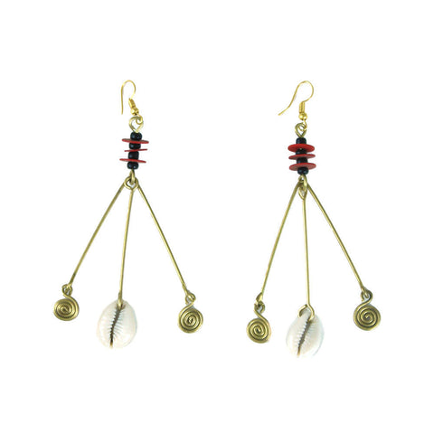 Red Disk & Shell Dangle Earrings