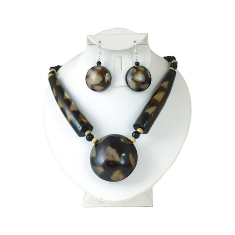 Massive Spotted Horn Necklace & Earrings
