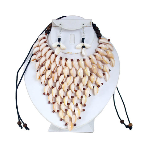 Cowrie Shell Necklace & Earrings Style-B