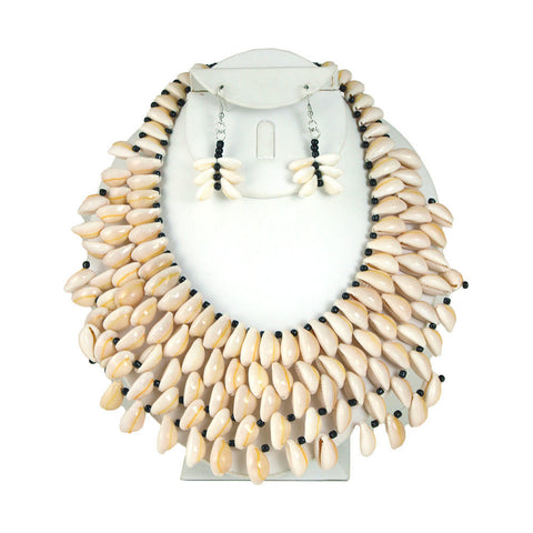 Cowrie Shell Necklace & Earrings Style-A
