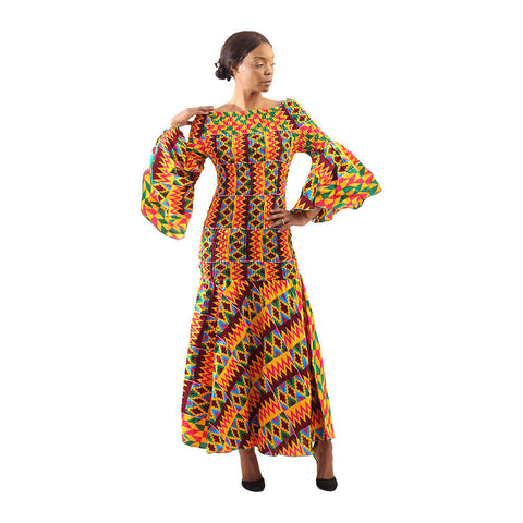 African-Made Bold Kente Gown