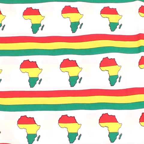 African Continent Print Fabric: White