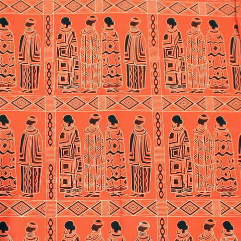 Orange Maasai People Gold-Print Fabric