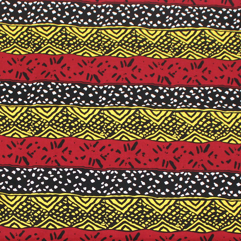 Multi-Strip Mud Print Fabric: 12 Yards