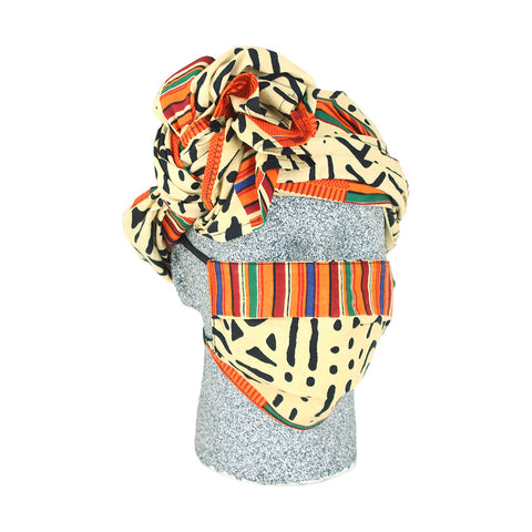 Afrocentric Mask & Headwrap Set