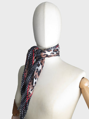 Leopard Print Silk Mix  Vintage Inspired Scarf