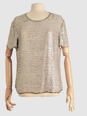 Silver/ Grey Sequin Top  Size: M