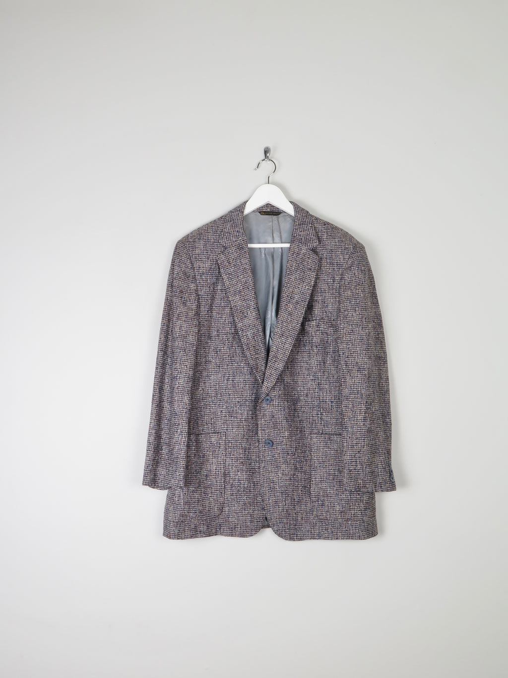 Mens Beige/Navy/Black Raw Affect Tweed Jacket 44""