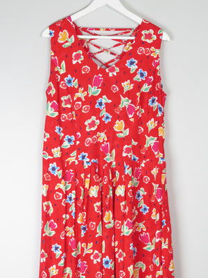 Vintage Red 1990s Summer Dress With Floral Print L