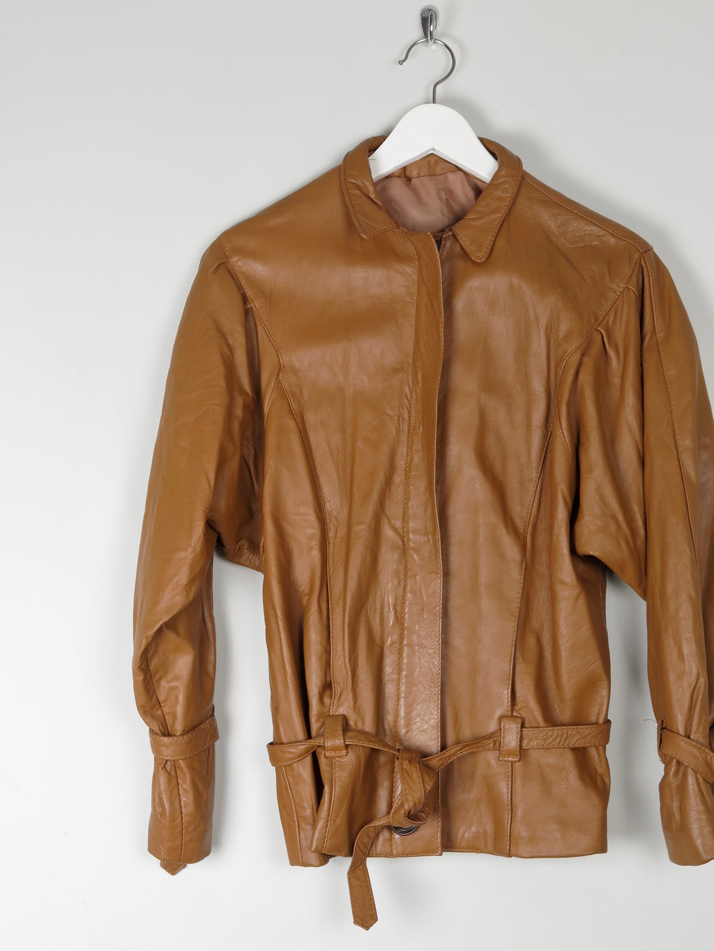 Women's Tan Leather Cropped Bomber Jacket S