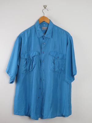 Turquoise Silk Mens Shirt L