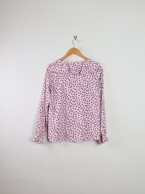 Loft Pink Ruffled Collar Blouse XS